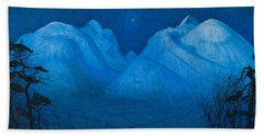 Winter Night In The Mountains Beach Towel
