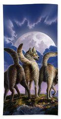 3 Wolves Mooning Beach Towel by Jerry LoFaro