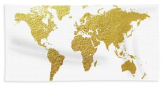 World Map Gold Foil Beach Towel