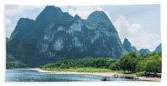 Lijiang River And Karst Mountains Scenery Beach Sheet