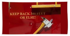 Beach Towel featuring the photograph Fire Truck Caution by Toni Hopper