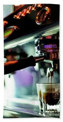 Making Espresso Coffee Close Up Detail With Modern Machine Beach Towel