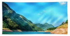 The Mountains And Reservoir Scenery With Blue Sky Beach Towel