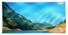 The Mountains And Reservoir Scenery With Blue Sky Beach Sheet