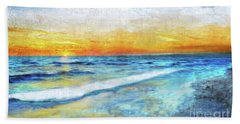 Seascape Sunrise Impressionist Digital Painting 31a Beach Towel