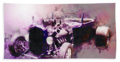 32 Ford Low Boy Roadster Watercoloured Sketch Beach Towel