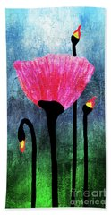 32a Expressive Floral Poppies Painting Digital Art Beach Towel