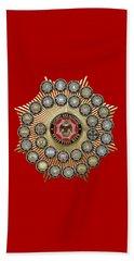 33 Scottish Rite Degrees On Red Leather Beach Towel