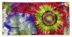 33a Abstract Floral Painting Digital Expressionism Art Beach Towel
