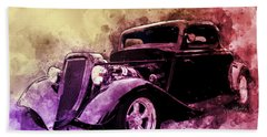 34 Ford Three Window Coupe Pen And Ink Watercolour Beach Towel