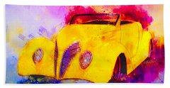 37 Ford Roadster Yellow Watercolour Beach Sheet