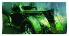37 Ford Street Rod Luv Me Green Meanie Beach Towel
