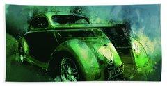 37 Ford Street Rod Luv Me Green Meanie Beach Sheet