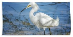 Snowy Egret Beach Sheet by Tam Ryan