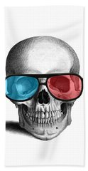 skull with 3D glasses Beach Towel
