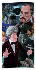 Beach Towel featuring the digital art 3rd Dr Who And Friends by Martin Davey