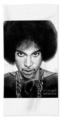 3rd Eye Girl - Prince Charcoal Portrait Drawing - Ai P Nilson Beach Towel