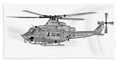 Beach Towel featuring the digital art Bell Helicopter Uh-1y Venom by Arthur Eggers