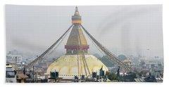 Boudhanath Stupa In Kathmandu Beach Towel