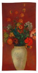 Beach Towel featuring the painting Bouquet In A Chinese Vase by Odilon Redon