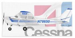 Beach Towel featuring the digital art Cessna O-2 Skymaster by Arthur Eggers