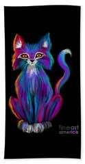 Colorful Cat Beach Towel by Nick Gustafson