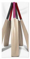 Cricket Bat Circle Beach Towel by Allan Swart
