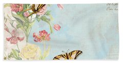Fleurs De Pivoine - Watercolor W Butterflies In A French Vintage Wallpaper Style Beach Towel