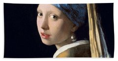 Girl With A Pearl Earring Beach Sheet