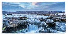 Godafoss Waterfall In Iceland Beach Towel