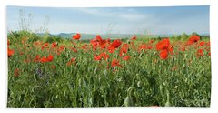 Meadow With Red Poppies Beach Sheet