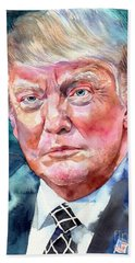 President Donald Trump Portrait Beach Towel