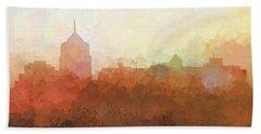 Beach Towel featuring the digital art Roanoke Virginia Skyline by Marlene Watson