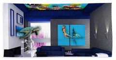 Rooftop Saltwater Fish Tank Art Beach Towel