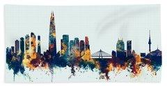 Beach Sheet featuring the digital art Seoul Skyline South Korea by Michael Tompsett