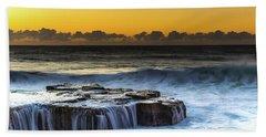 Sunrise Seascape With Cascades Over The Rock Ledge Beach Towel