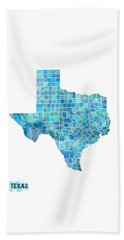 Texas Watercolor Map Beach Towel by Michael Tompsett