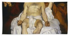 Beach Sheet featuring the painting The Dead Christ With Angels by Edouard Manet