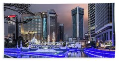 The Office Buildings Reflects In The Water Of The Klang River In Beach Towel