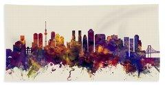 Tokyo Japan Skyline Beach Sheet by Michael Tompsett