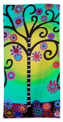 Beach Towel featuring the painting Tree Of Life by Pristine Cartera Turkus