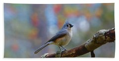 Beach Towel featuring the photograph Tufted Titmouse by Robert L Jackson