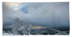 Typical Snowy Landscape In Ore Mountains, Czech Republic. Beach Towel