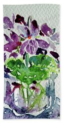 Beach Towel featuring the painting Violet by Kovacs Anna Brigitta