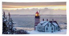 West Quoddy Lighthouse Beach Sheet by Trace Kittrell