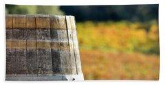 Wine Barrel In Autumn Beach Sheet