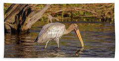 Beach Towel featuring the photograph Wood Stork by Peter Lakomy