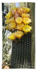 Yellow Cactus Flowers Beach Sheet