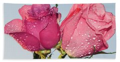Two Roses Beach Towel by Elvira Ladocki