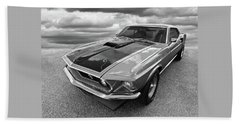 428 Cobra Jet Mach1 Ford Mustang 1969 In Black And White Beach Towel